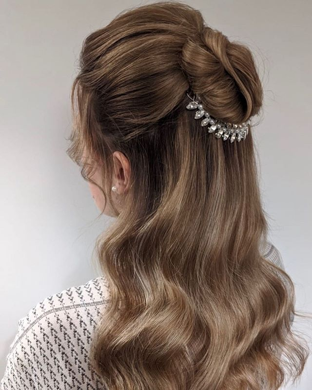 Vintage-Inspired, Blinged Half Updo