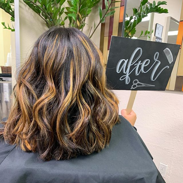 Brunette Hair with Caramel Highlights and Relaxed Waves