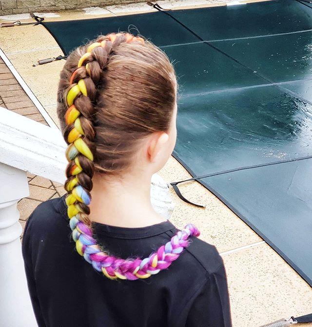 Single, Multicolored French Plait for Girl