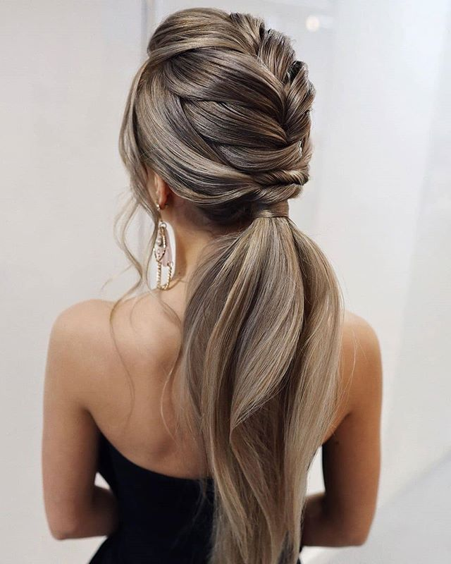 Fierce Bridal French Braid Wedding Ponytail