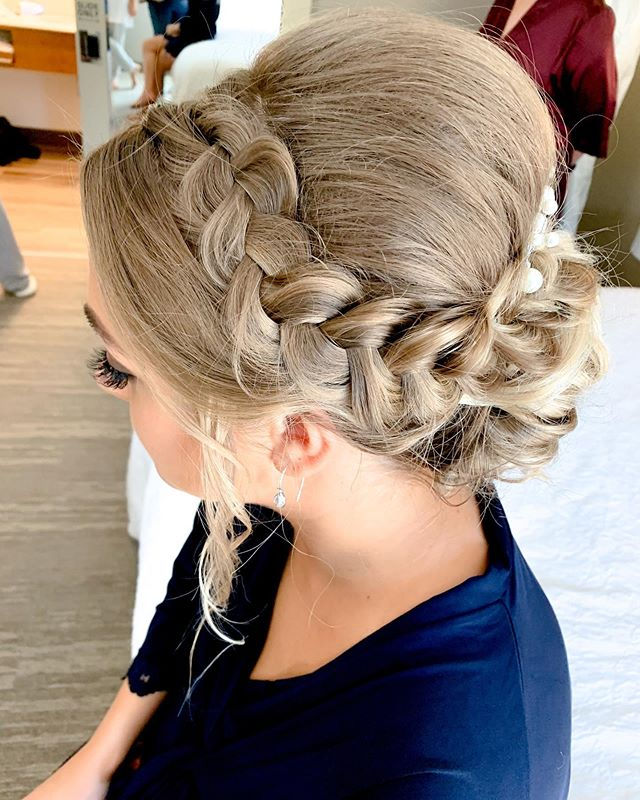 Side Parted Braided Updo