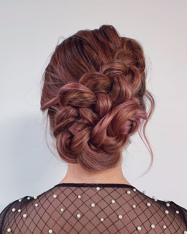 Messy Pinned-Up Braid with Red Highlights
