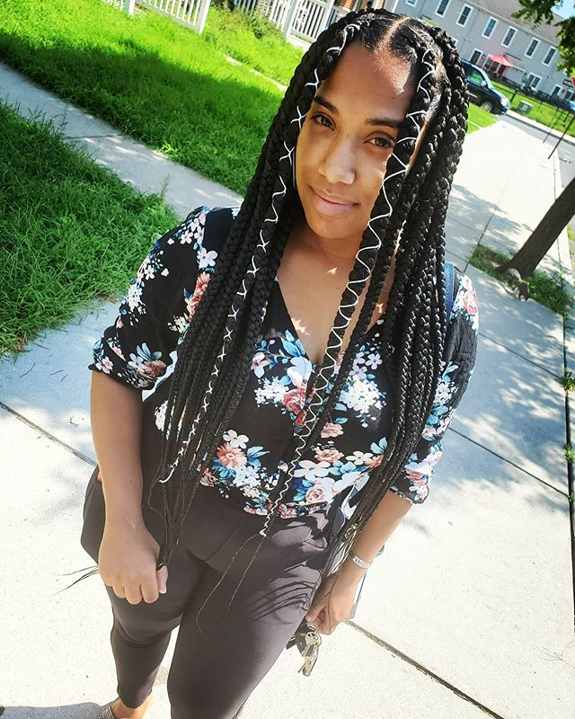 Large & Long Threaded Box Braids