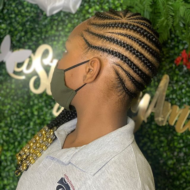 Patterned Side Braids With Beads
