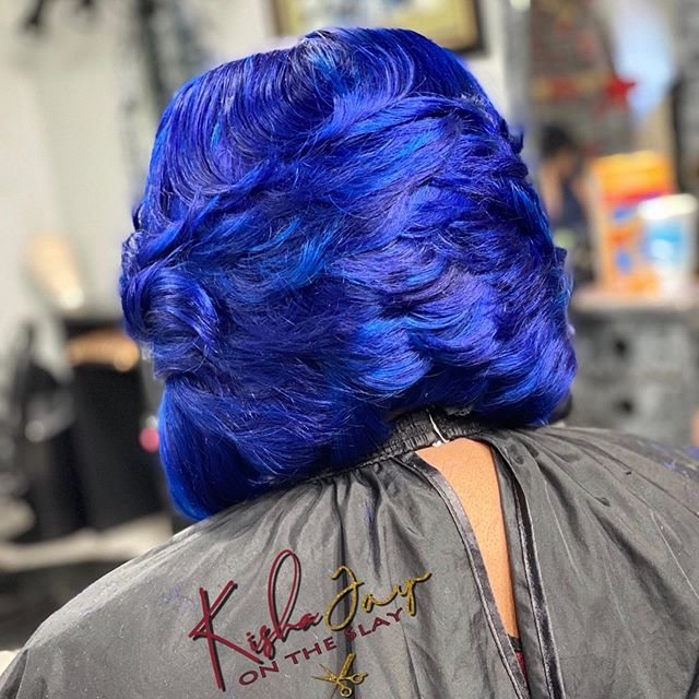 Cool Blue Layered- Haircut With Heavy Texture