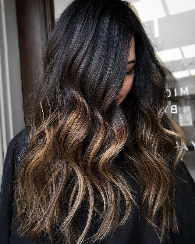 Classy Ombre Highlights On Dark Hair