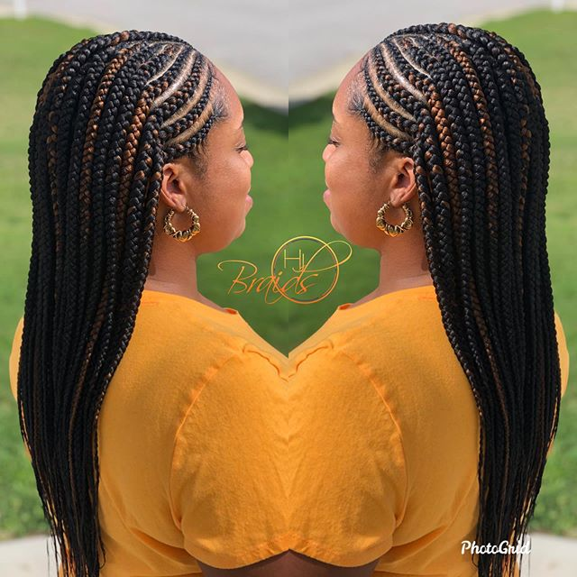 Black And Brown Medium-sized Cornrow Braids