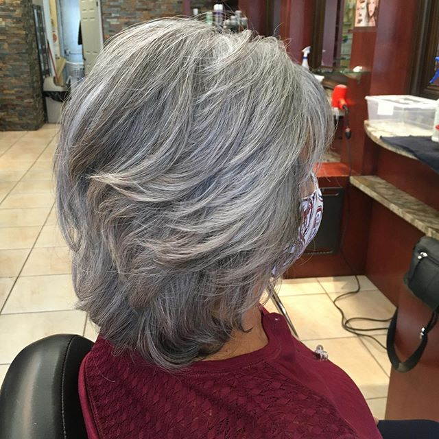 Grey Texturized Haircut With Subtle Layers