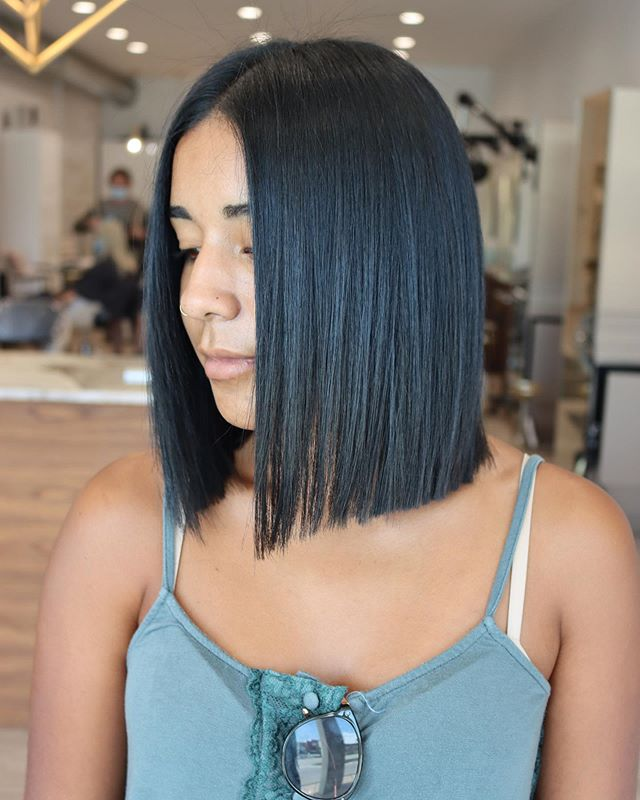 Blunt Black Bob With Center Part