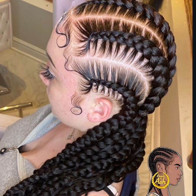 Four Straight-Back Braids with Extensions