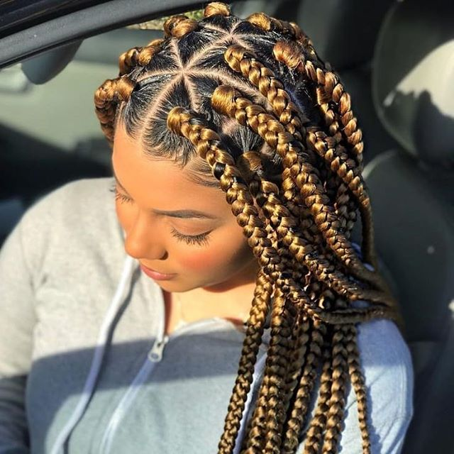 Brown braids with leaf design