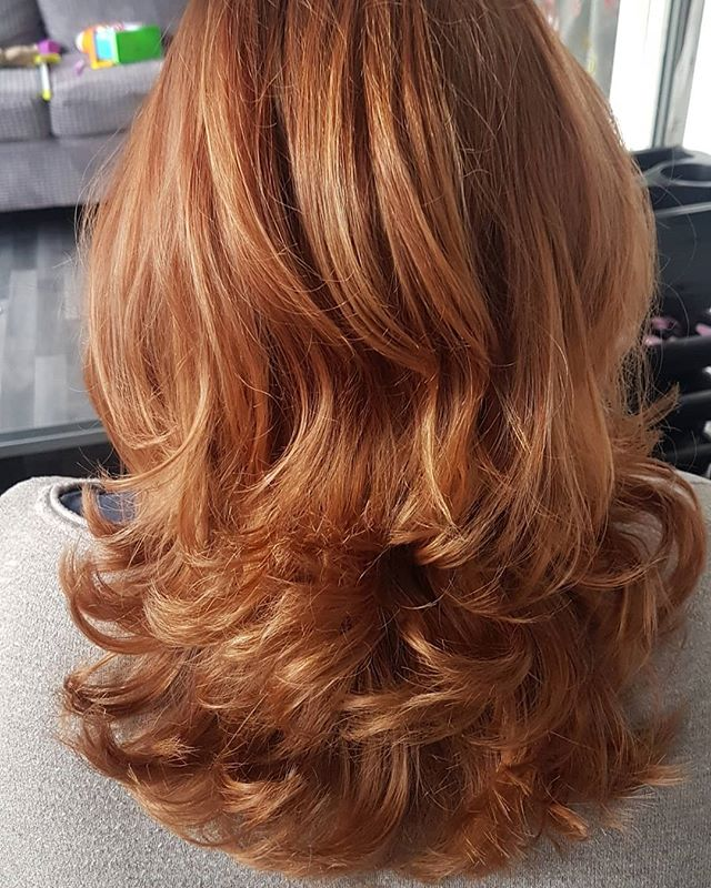 Medium Auburn with Feathered Long Layers