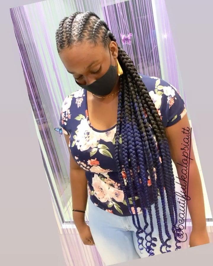 Jumbo braids and cornrows