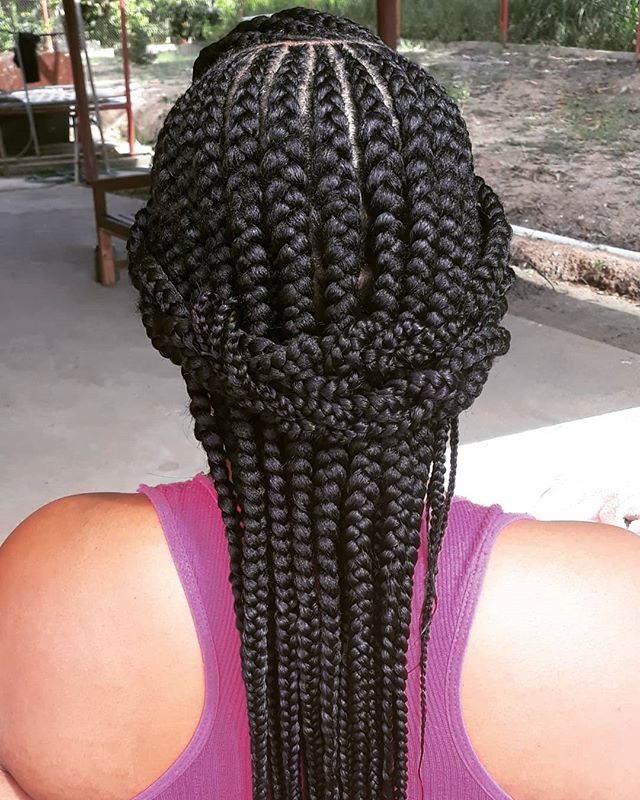 Chunky Straight-Back Braids With Plaited Halo