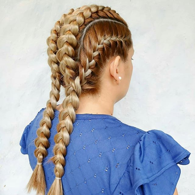 Four Dutch Braids with Red Highlights