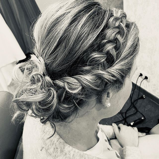 Messy, Braided Updo with Balayage Highlights