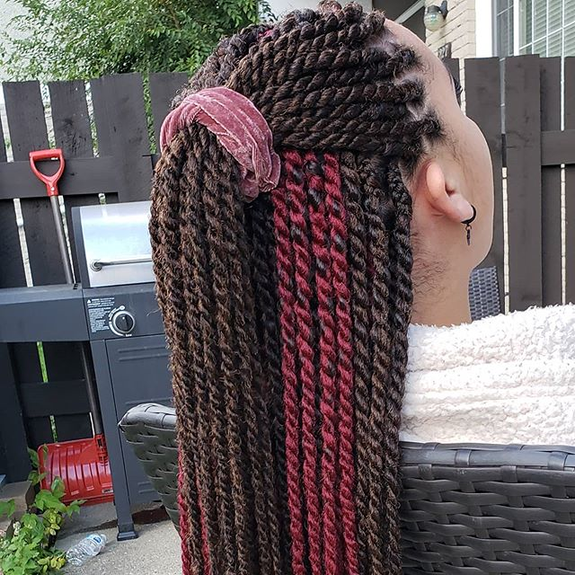 Half-up, half-down braids with a hint of red