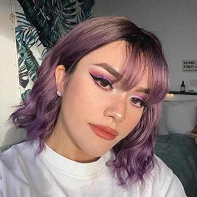 Short Wavy Hair with Lilac Highlights