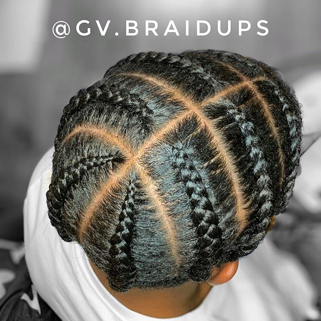 Eight Cornrows with Defining Middle Part