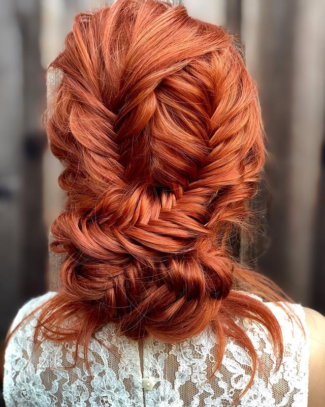 Red Hair Updo with Eye-Catching Pattern