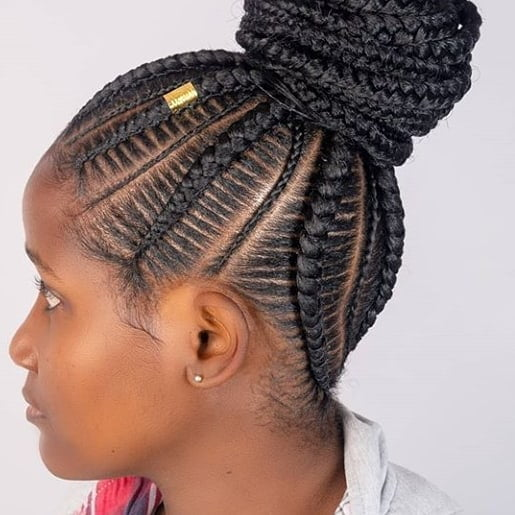 Awesome Bun With Skinny And Large Cornrows