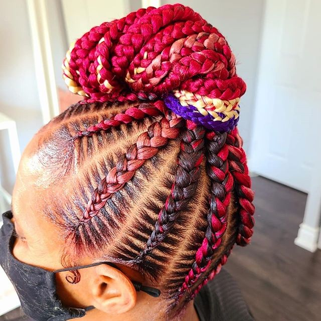 Playful Updo and Colored Braids