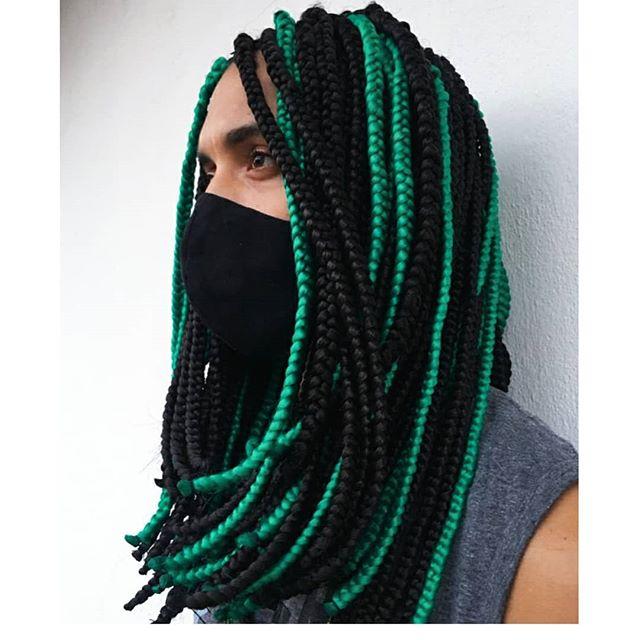 Black and green jumbo braids