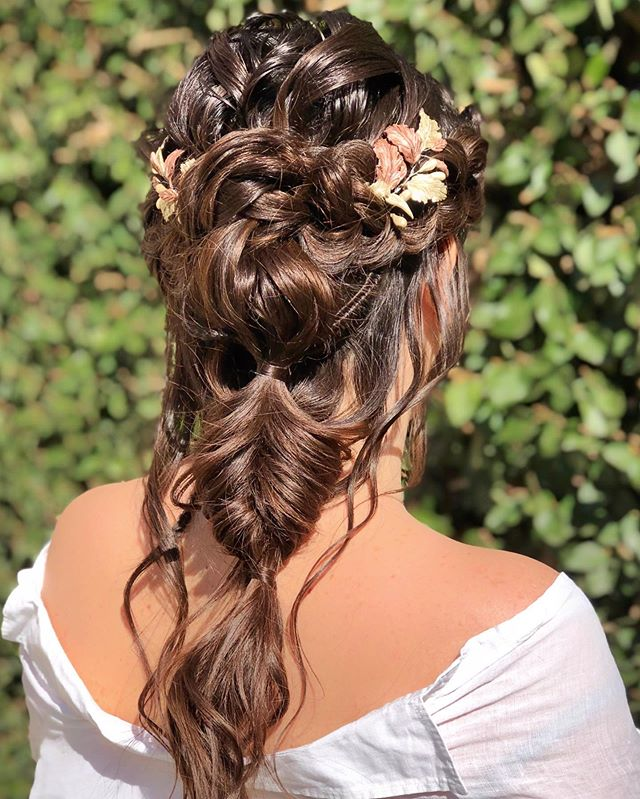 Blended Braids Unique Floral Wedding Hair