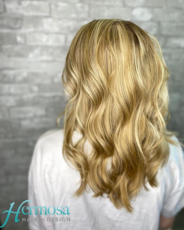 Blonde Beach Waves with Platinum Highlights