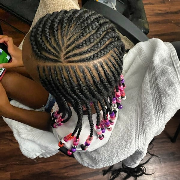 Beautiful Lemonade Braid Haircut And Pink Beads