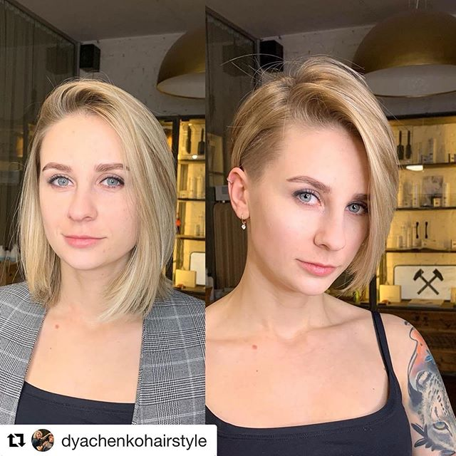 Asymmetrical Bob Hairstyle Idea with Shaved Temple