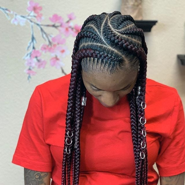 Burgundy Ghana Braids with Jewelry