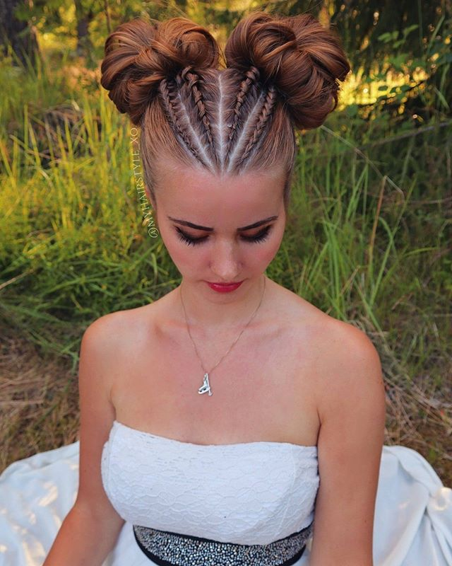Two Braided Buns in Red