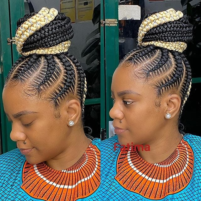 Cute Hairstyle Idea for Women with Ghana Braids