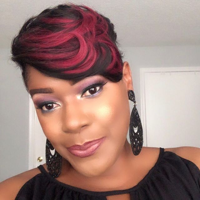 Black Pixie With Cherry Red Highlights