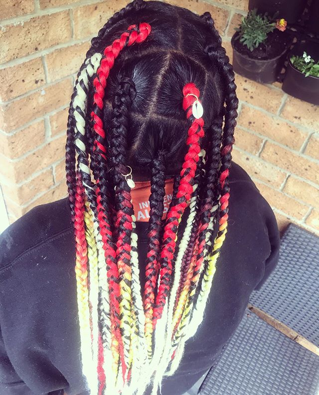 Multicolored jumbo braids with shells