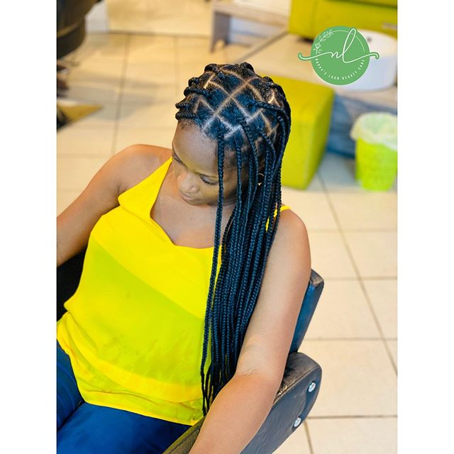 Diamond Box Braids with Extensions