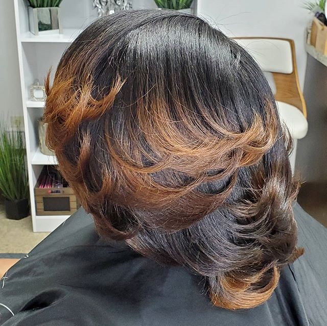 Soft Feathered Bob With Brown Ends