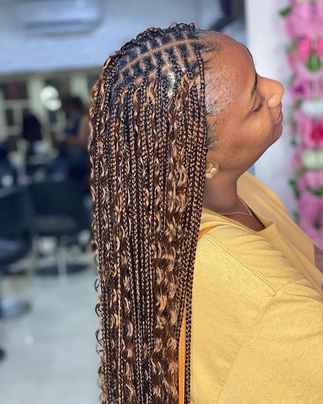 Miniature Box Braids with Blonde Extensions