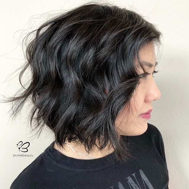 Short Black Lob With Beachy Waves