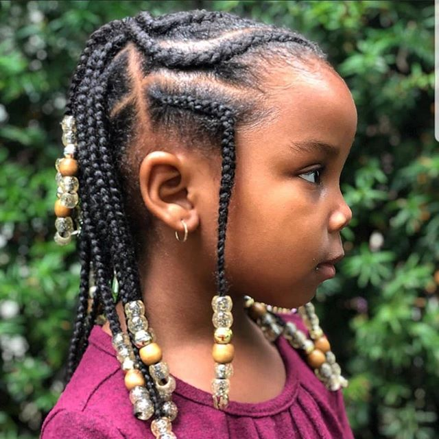 Cute Box Braids with Cornrow Braids