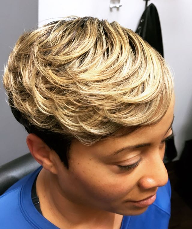 Black And Blonde Texturized Pixie