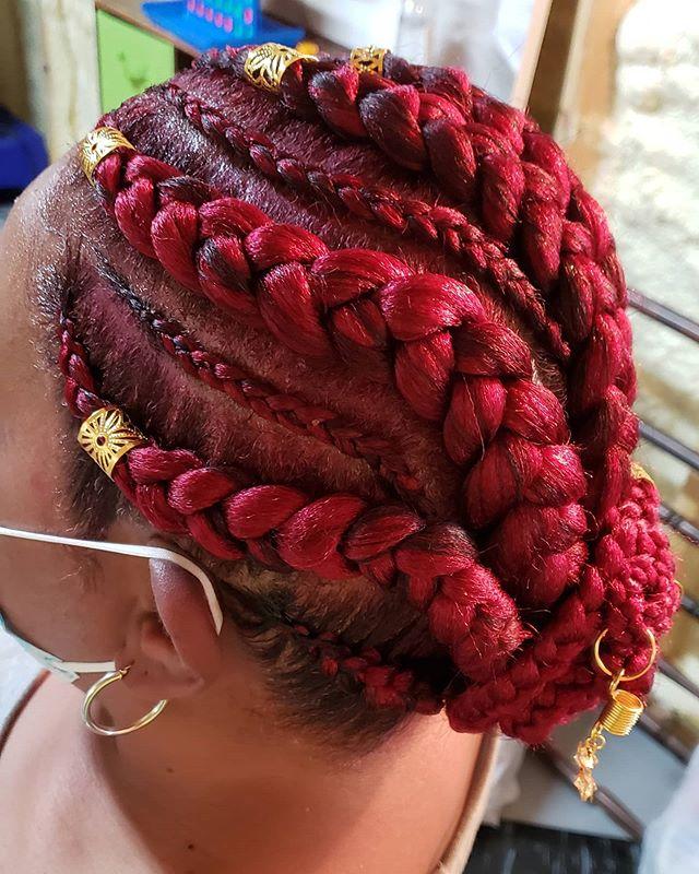 Red Jumbo Braids and Hair Jewelry
