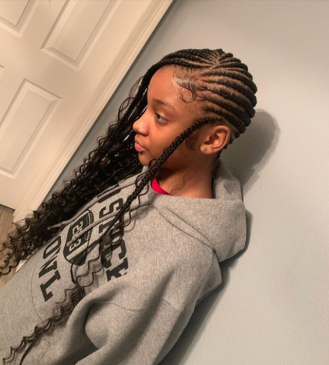 Side Swept, Full Scalp Curly Lemonade Braids