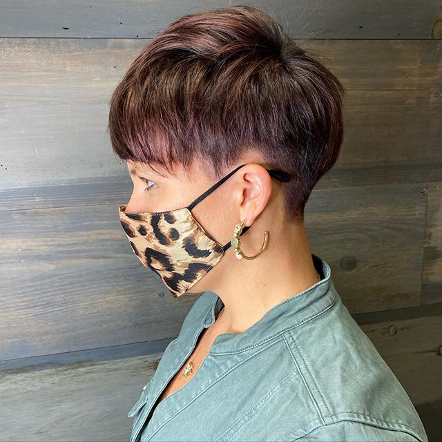 Best Short Sides Long Top Hairstyle Ideas with Mahogany Tinted Pixie Cut