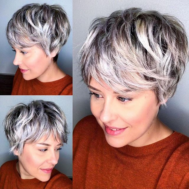 Frosted, Layered Long Pixie Cut