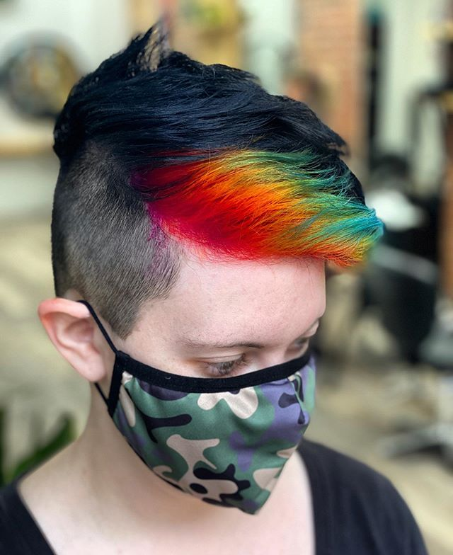 Best Short Sides Long Top Hairstyle Ideas With Pop Of Rainbow
