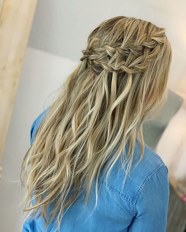Best Bridesmaid Hairstyle Ideas with Double Dutch Braided Waterfall Waves