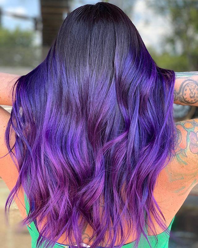 Best Dark Purple Hair Color Ideas with Fuschia Ombre Curls