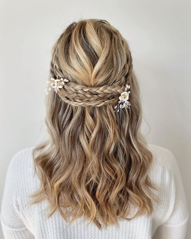 Triple Braid Crown With Asymmetrical Accessories